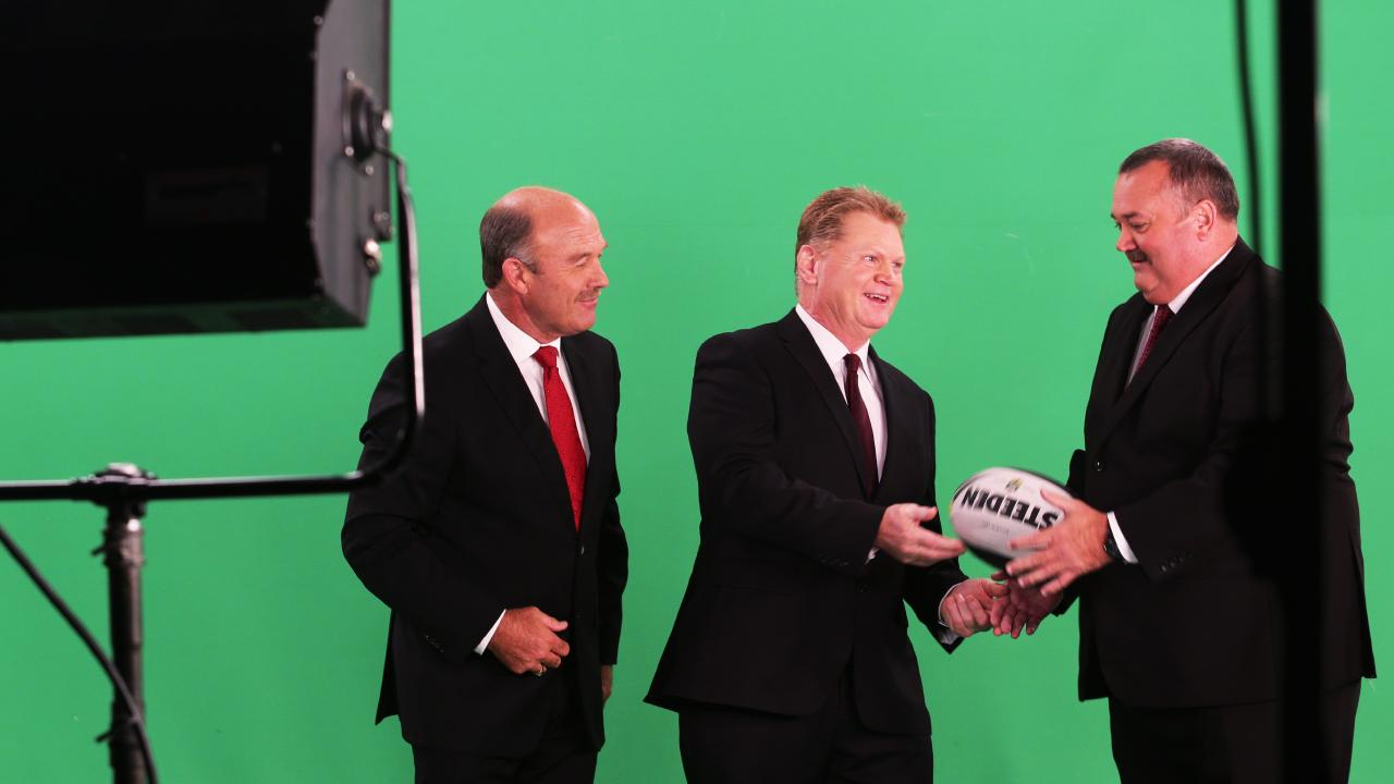 Wally Lewis, Paul Vautin and Darryl Brohman on the Footy Show in 2014. Picture: Ric Frearson.