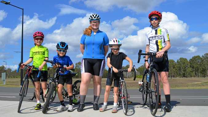 FUN RACING: Ipswich Cycling Club riders (from left) Rebecca Sharpe, Ethan Lee, Chelsea Snodgrass, Madeline Davies and Nick Springall.