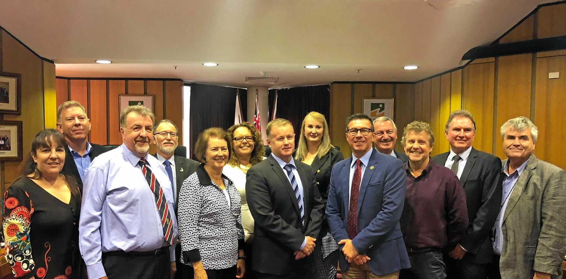 Former Ipswich councillors with then chief executive officer Sean Madigan and Gary Kellar.