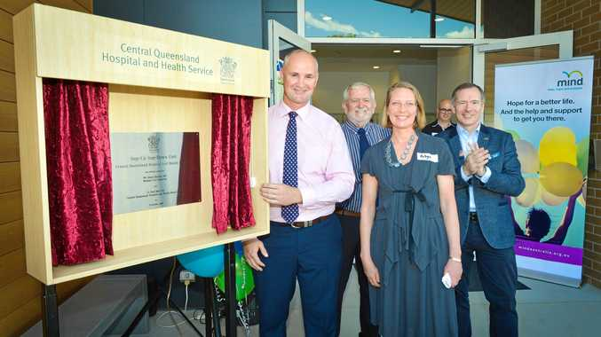 READY: Member for Gladstone Glenn Butcher, Central Queensland Hospital and Health Service board chair Paul Bell, Mind chief executive officer Robyn Hunter and CQHHS chief executive at the official opening of the Step Up Step Down mental health facility in Gladstone.