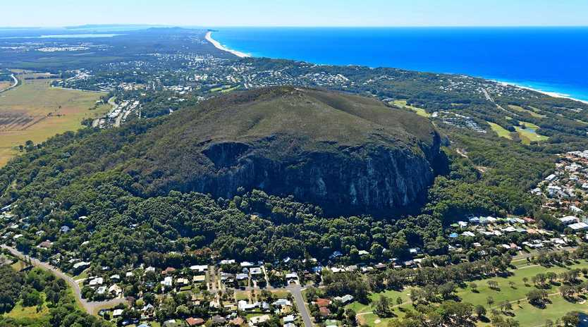 Aerial photography Sunshine Coast. Mount Coolum.