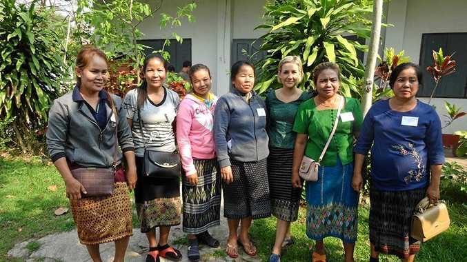 PUTTING KNOWLEDGE INTO PRACTICE: Dr Madaline Healey with agroforestry farmers from Laos.