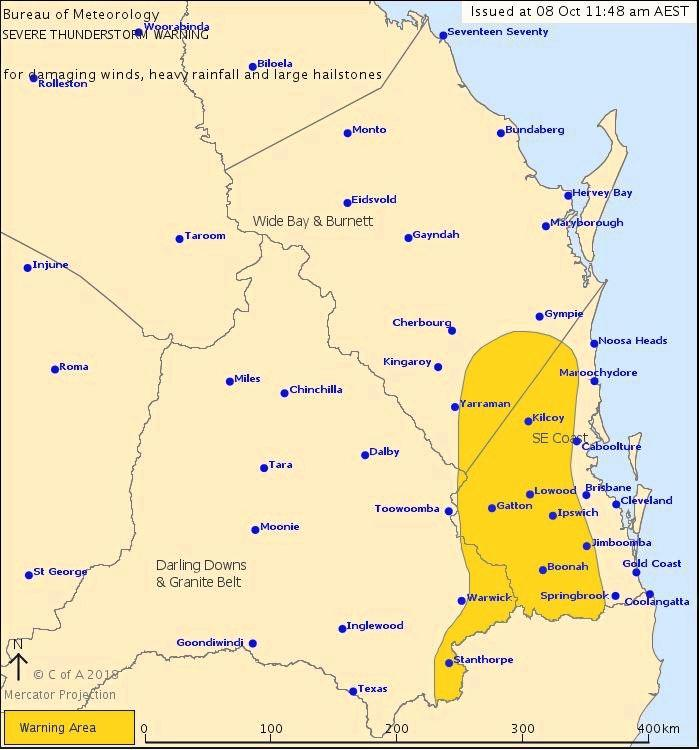Severe Thunderstorm Warning for the south-east coast looks like it may miss Gympie.