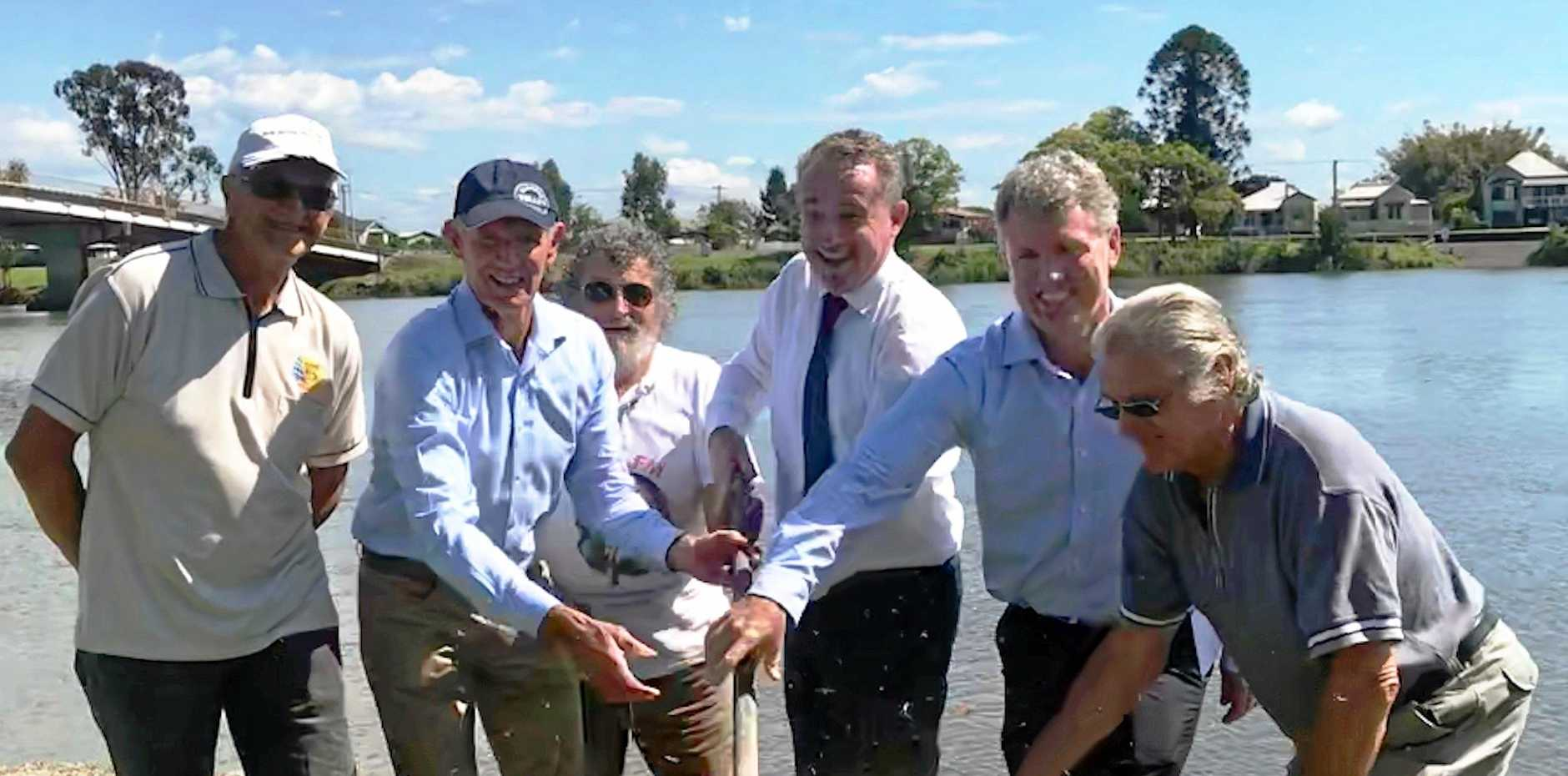 Turning the sod for the start of the Woodburn foreshore project was Woodburn Evans Head RSL President John Frederiksen, Richmond Valley Mayor Rob Mustow, Roger Wood, Kevin Hogan MP, Richmond Valley Council General Manager Vaughan MacDonald and Robert May.