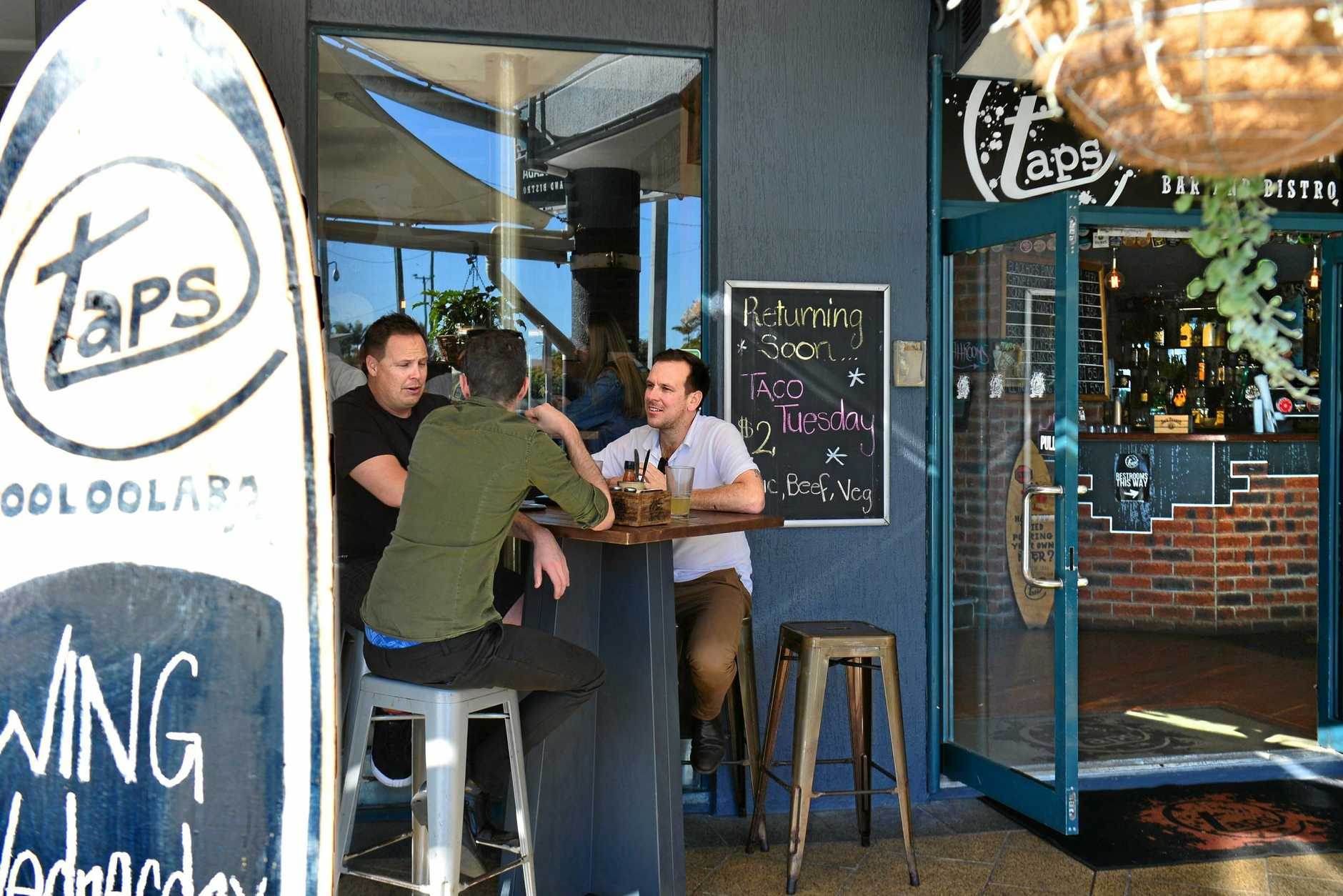 COME ALONG FOR BEER AND WINGS: Wayne Taylor and Eliot Krause meet at Taps in Mooloolaba every Wednesday to chat about life and its vicissitudes.