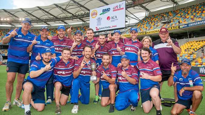 Mackay Whitsundays Nitros celebrate their win over Far North Fusion in the Bulls Masters Country Challenge final at the Gabba on Wednesday, December 27.