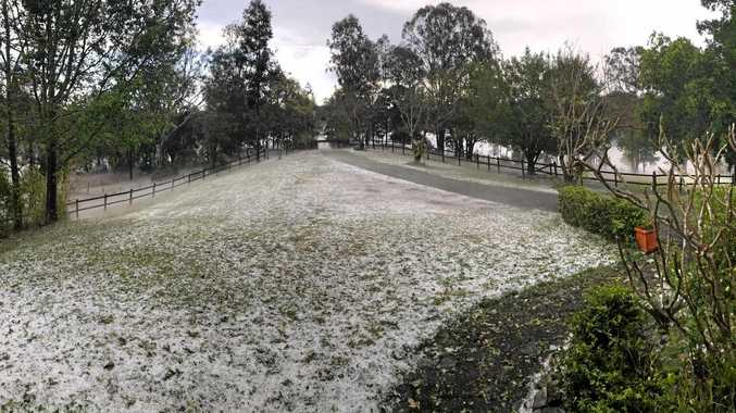HIT: Browns Creek Rd, Eerwah Vale, resembled a snowfield after a hailstorm swept through.