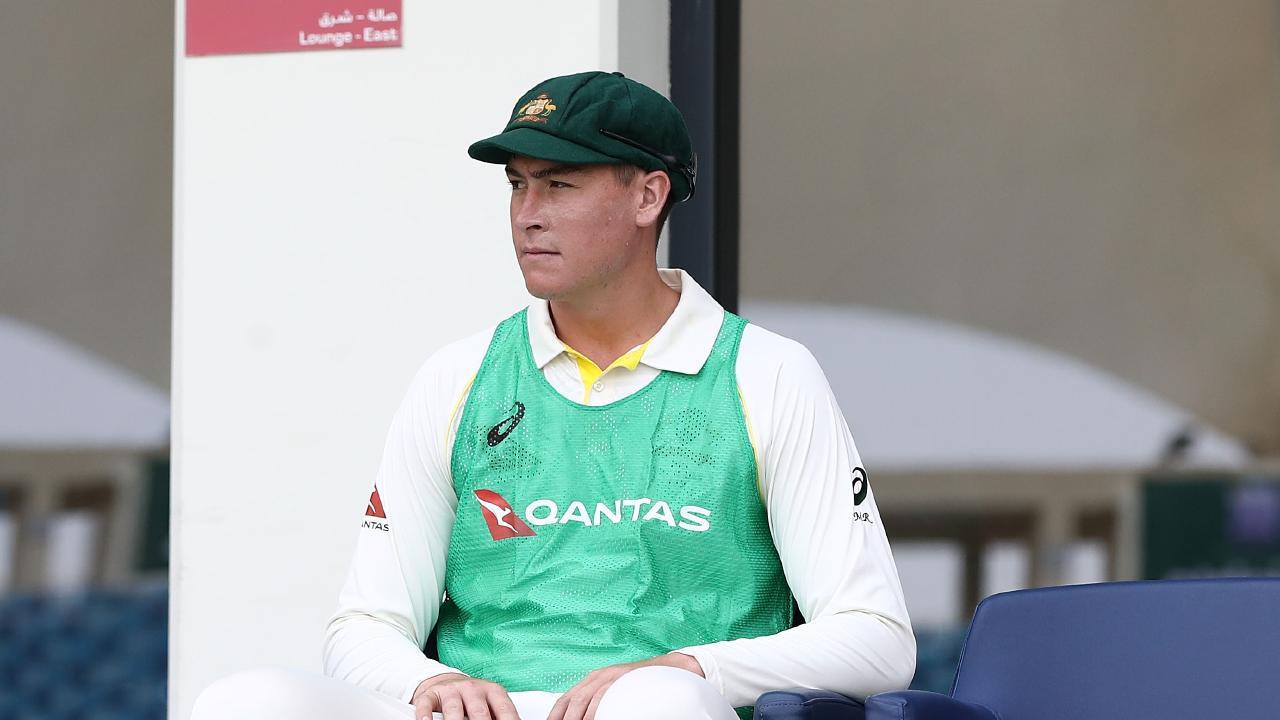 Matt Renshaw watches on as Australia takes on Pakistan in Dubai. (Photo by Ryan Pierse/Getty Images)