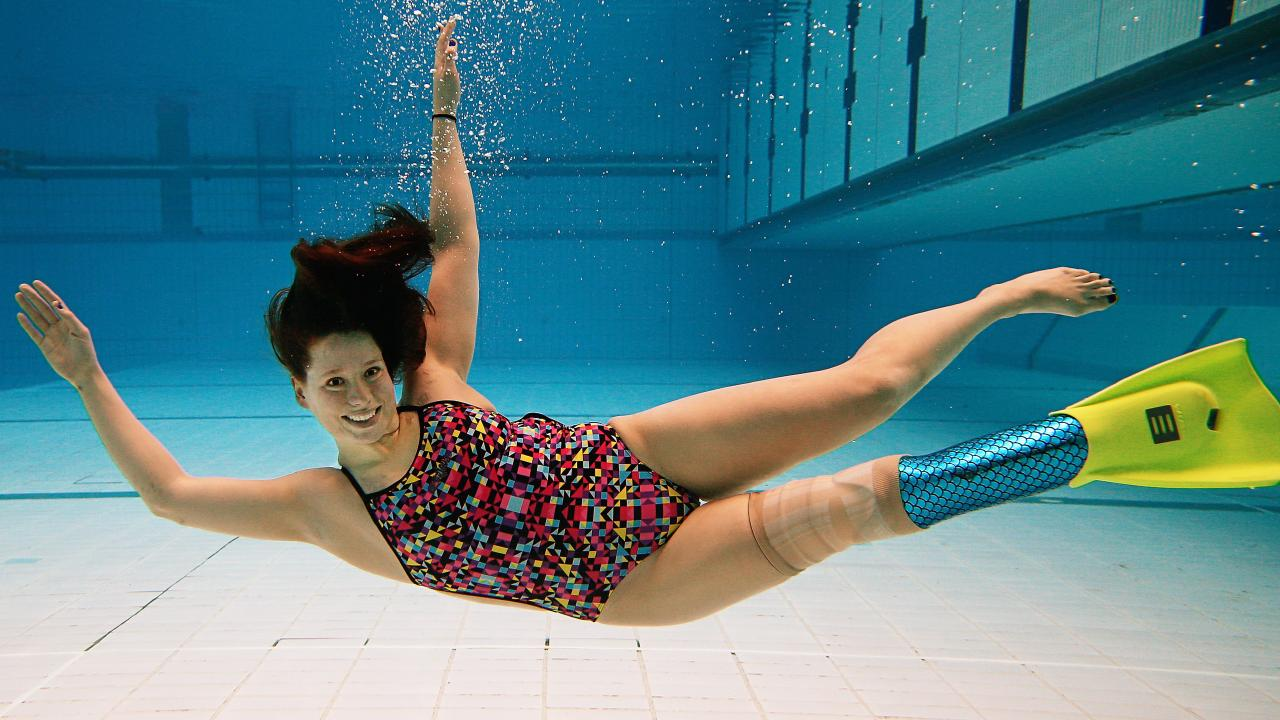 Learning to swim with one leg was a challenge that Monique enjoyed. Picture: Tim Carrafa