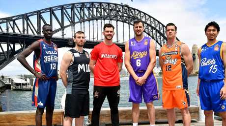 Majok Deng of the Adelaide 36ers, Chris Goulding of Melbourne United, Angus Brandt of the Perth Wildcats, Andrew Bogut of the Sydney Kings, Lucas Walker of the Cairns Taipans and Makoto Hiejima of the Brisbane Bullets pose for a photo at the NBL/WNBL 2018-19 Season Launch in Sydney, Monday, October 8, 2018. (AAP Image/Joel Carrett)