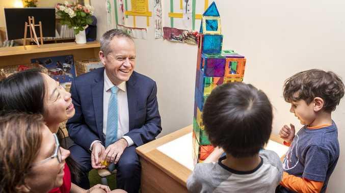 Opposition leader Bill Shorten at the Deakin & Community Childcare Co-operative in Melbourne last week. Picture: Daniel Pockett/AAP