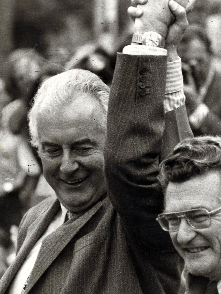 Gough Whitlam, pictured here with Bob Hawke, offered a strong contrast between himself and Billy McMahon.