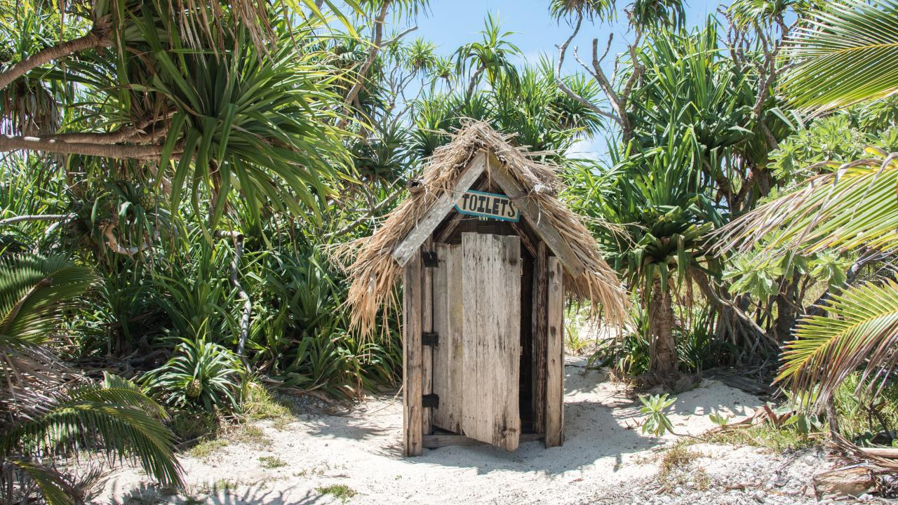 Finding a toilet while travelling can be an interesting experience. This one is at Mystery Island, Vanuatu.