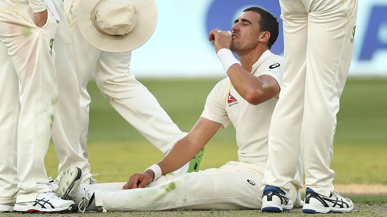 Mitchell Starc battles cramps in the first Test. (Ryan Pierse/Getty Images)