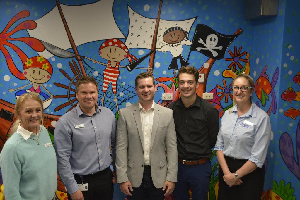 At St Vincent's pediatric ward are (from left) Kathryn McKeefry, Malcom Casey, Robbie Witt, Tom Schatz and Sharon Jillett.