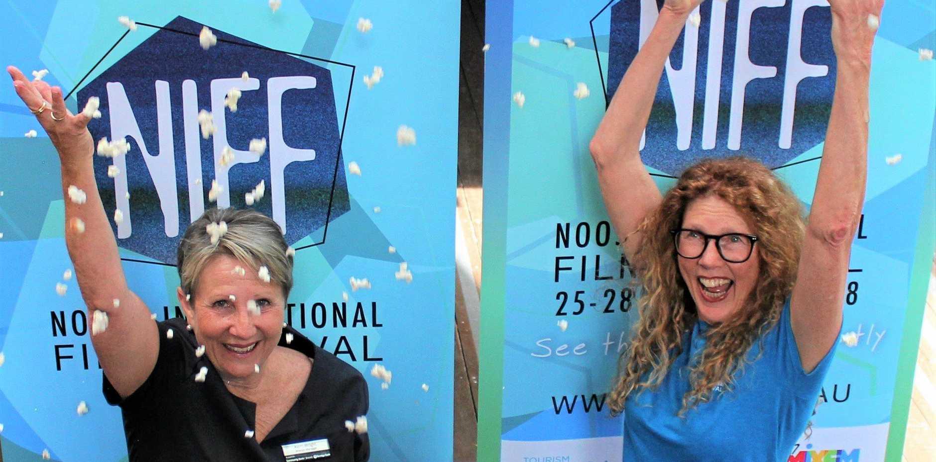 Get the popcorn ready: NIFF President Holly Pittman and Bendigo Bank's Kerri Wright .