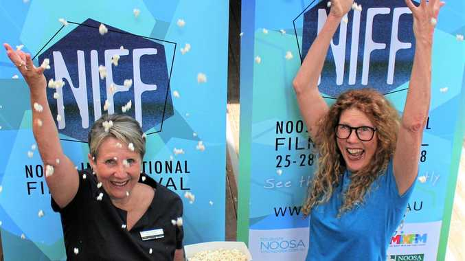 Get the popcorn ready: NIFF President Holly Pittman and Bendigo Bank's Kerri Wright .