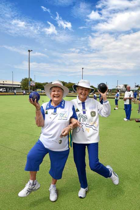 The Pacific Paradise Bowls Club is back in full swing after it nearly folded last year. Pattie Peacock and Gwen Peirce are pictured with their club members celebrating.