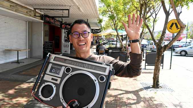 MAKING MUSIC: Mark Kim from Modern Radio Lab with his Japanese made 1979 Boom Box in Bundaberg.