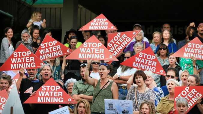 CALL FOR ACTION: Protesters outside the Tweed Shire Council Chambers last week, calling on councillors to stop water extraction.