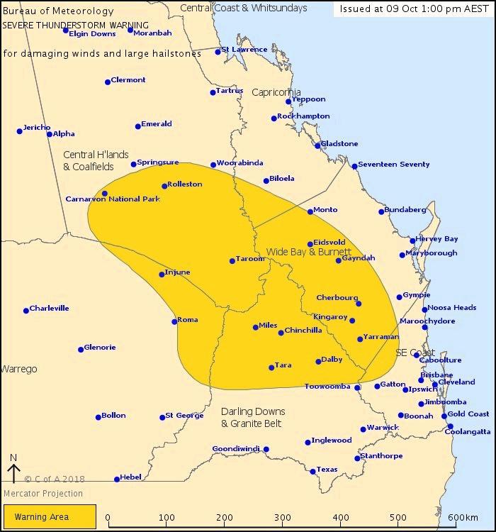 Severe thunderstorm warning issued as of 1pm.