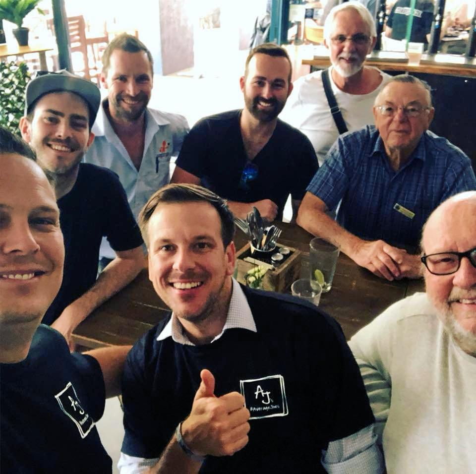 Average Joes meeting at Taps Mooloolaba for wings and beers every Wednesday at midday. Slowly they're changing the way men talk as men.