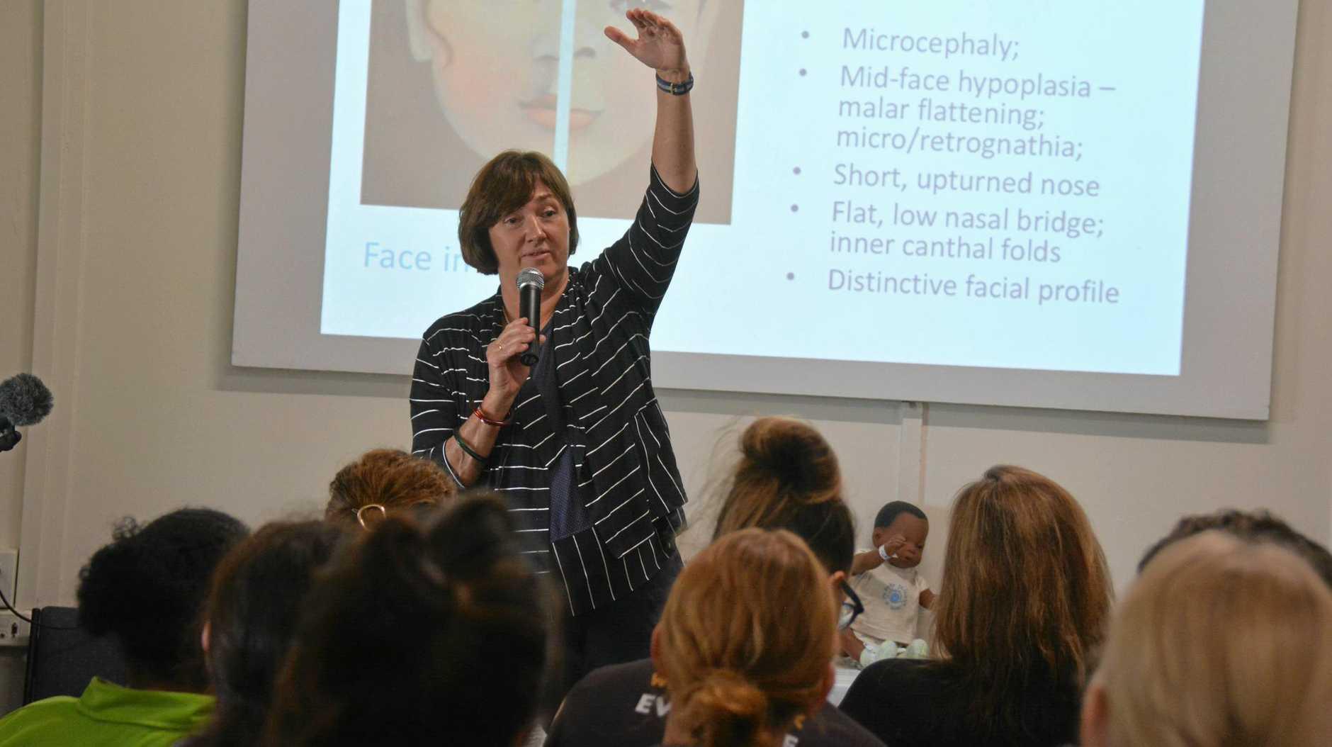 AWARENESS: University of Sydney pediatrics Professor Elizabeth Elliott leads the Fetal Alcohol Spectrum Disorder workshop in Cherbourg on Tuesday October 9.