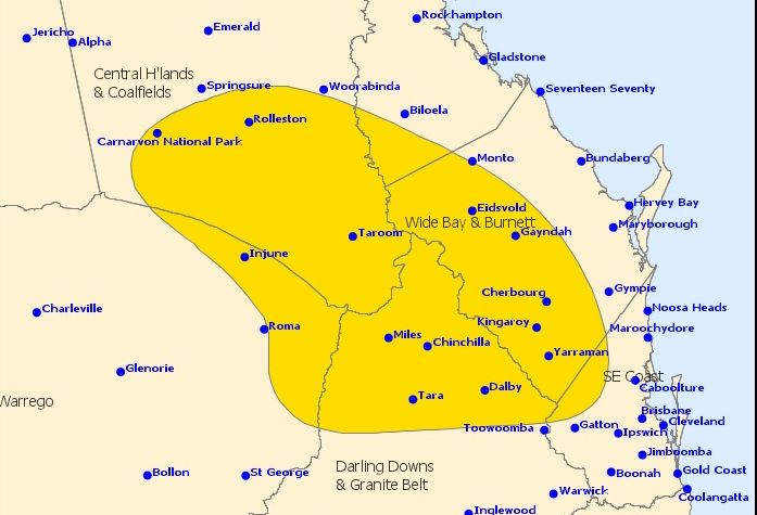 The Bureau of Meteorology has issued a severe storm warning for the Wide Bay Burnett.
