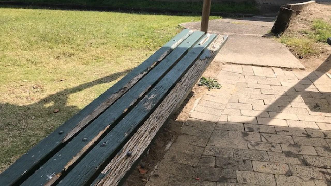 Seats needing repairs at Helensvale State School.