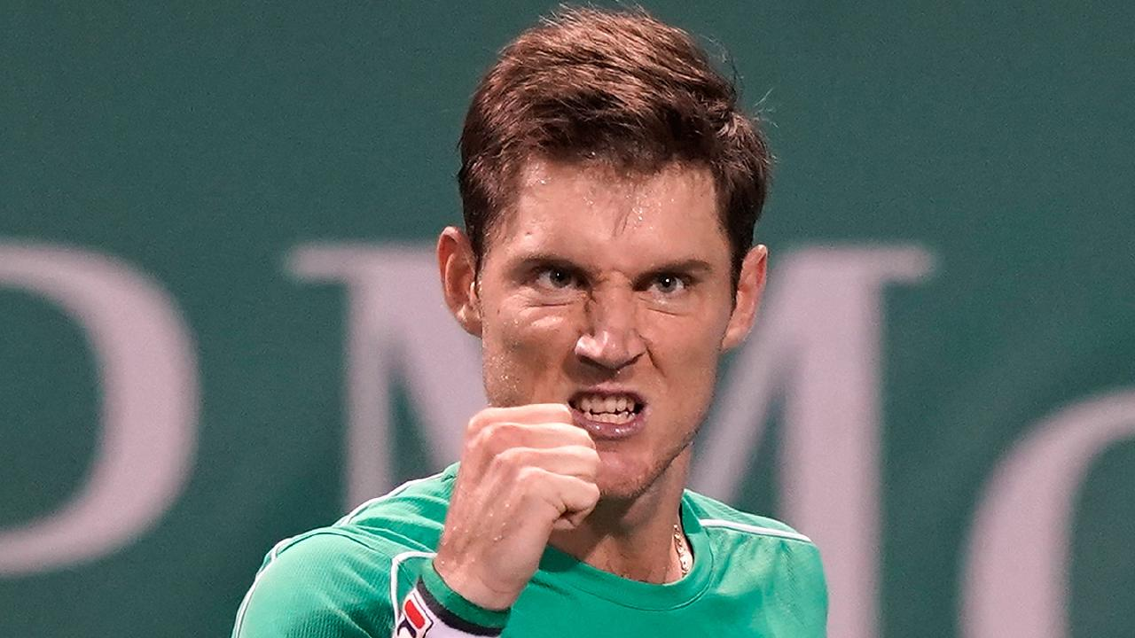 Matthew Ebden celebrates breaking Dominic Thiem at the Shanghai Masters.