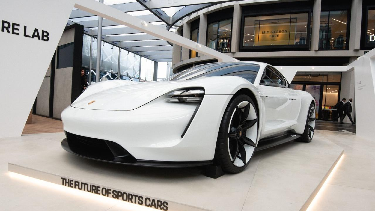 Porsche Mission E concept on display at Barangaroo.