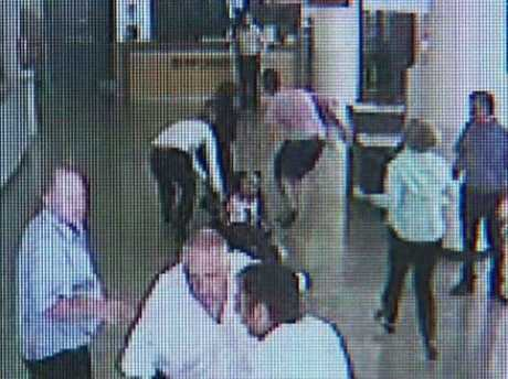 CCTV footage shows Dr Michael Wong's bloodied body being dragged to the emergency room after he was stabbed 14 times at Footscray Hospital.