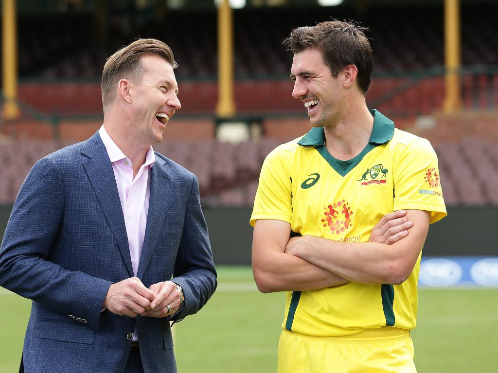 Commentator Brett Lee shares a joke with fellow fast bowler Pat Cummins.