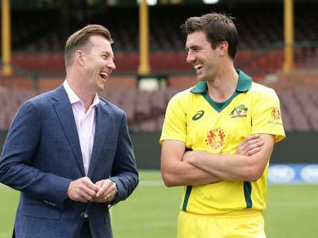 Commentator Brett Lee shares a joke with fellow fast bowler Pat Cummins.