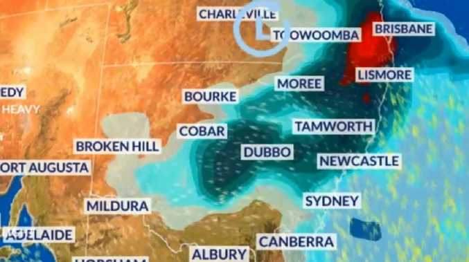 Supercell thunderstorms will be a possibility over south east Queensland and New South Wales. Picture: Sky News Weather.
