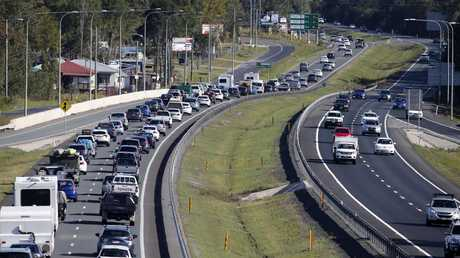 Traffic pictured on the Bruce Highway at Elimbah. The Bruce Highway is one of eight major routes expected to have traffic beyond its capacity by 2043. Picture: AAP/Josh Woning