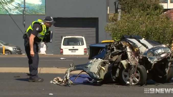 Paige Dent was killed in a smash which saw her blue BMW sliced in half after hitting a power pole in Melbourne's south-east. Source: 9 News