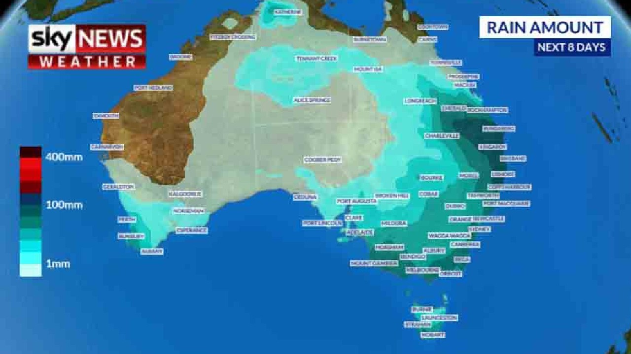 Rain is going to be a feature for the next week across Australia. Picture: Sky News Weather
