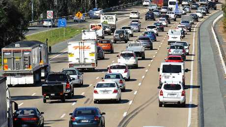The M1 is another stretch of road expected to reach capacity unless something is done. Picture: Nigel Hallett Picture: AAP/John Gass