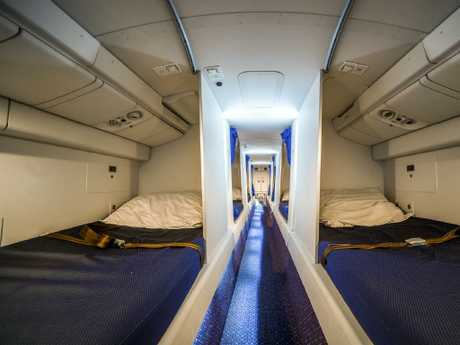 The space enables crew members to rest during long-haul flights.