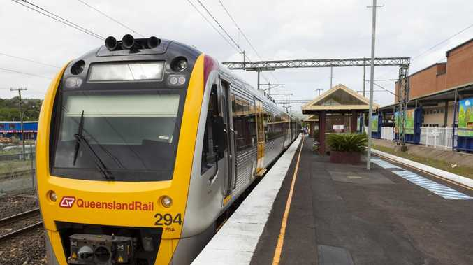 A train at Nambour station. The Sunshine Coast line is one of eight that would fail to make the on-time running benchmark it if included incidents outside of QR's control, such as boom gate strikes.