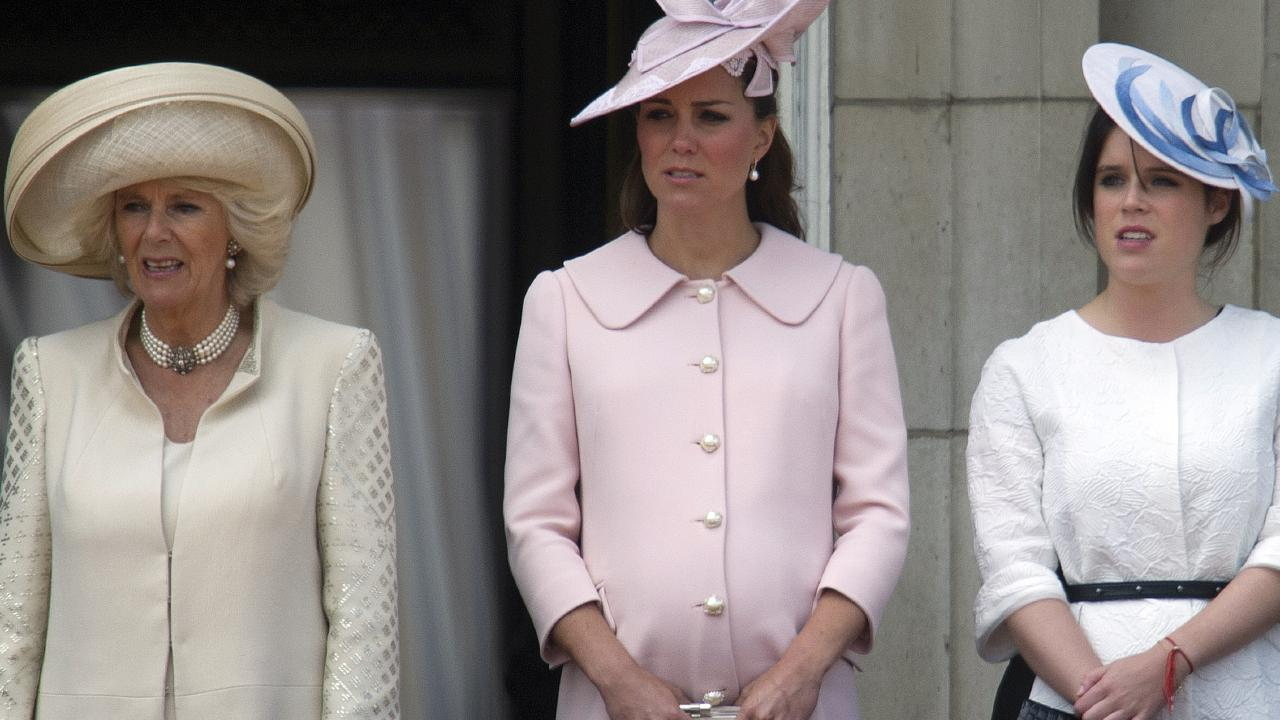 No show! Camilla, Duchess of Cornwall, seen with Catherine, Duchess of Cambridge, and Princess Eugenie of York, won't be at Eugenie's wedding. Picture: AFP