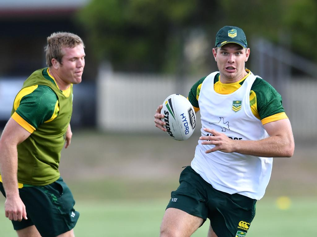 Tom Trbojevic beats his brother Jake during Kangaroos training.