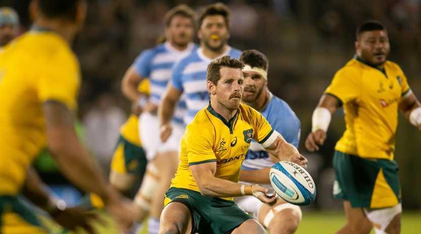 Bernard Foley of Australia passes the ball against Argentina.