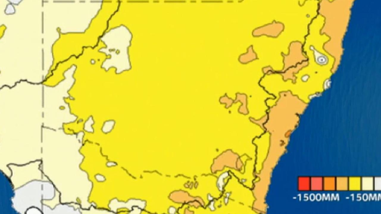 A rain anomaly map of New South Wales which shows the deficiency in rainfall between January and September compared to average. The yellow areas have seen 150mm less than average, in orange are areas with 300mm below average. Picture: Sky News Weather.
