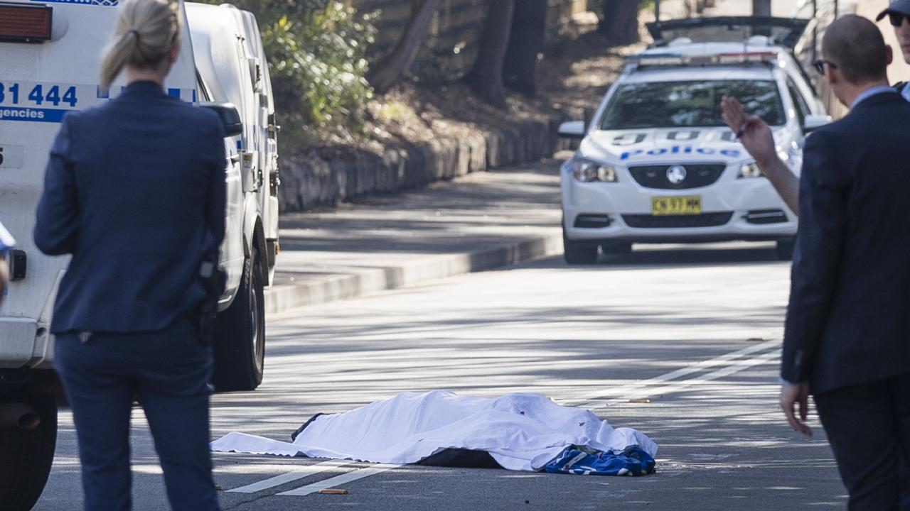 The body of rapper Jett McKee in the Forest Lodge street after he died in August. Picture: Brook Mitchell.