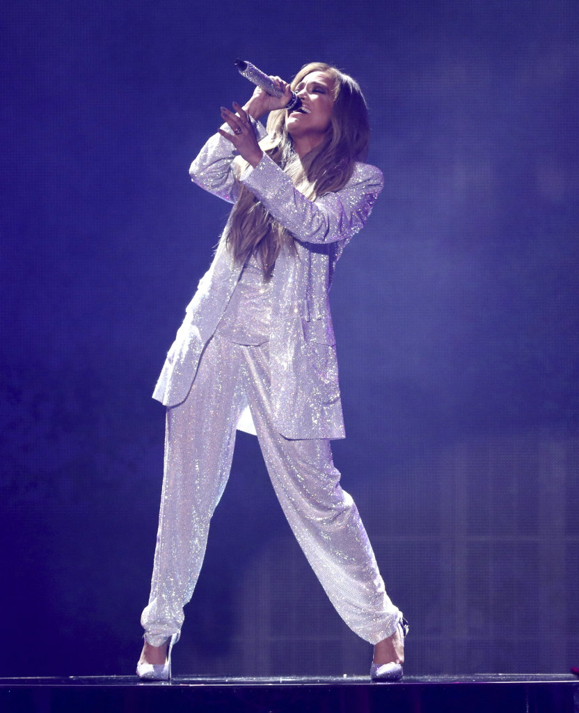 Jennifer Lopez performs at the American Music Awards at the Microsoft Theater in Los Angeles.