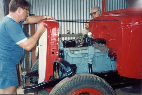 This 1935 Chevrolet truck was restored by Fraser Coast Historic Vehicle Club members, including Frank Lang (left) and Ken Dein, under the guidance of founding member Ron Schiefelbein between July 1987 and July 1992.