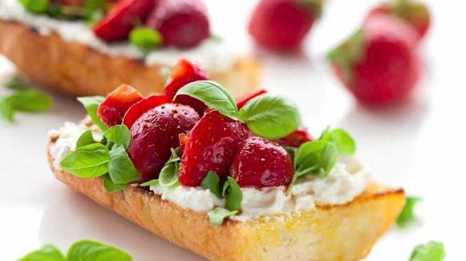 Goat's cheese, strawberry and basil bruschetta.