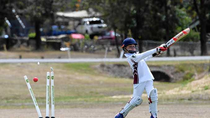 OVER AND OUT: Norths White under-12s player Tray Andrews is dismissed at Kendalls Flat.